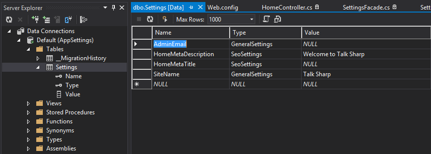 MVC App Settings Entity Framework Model