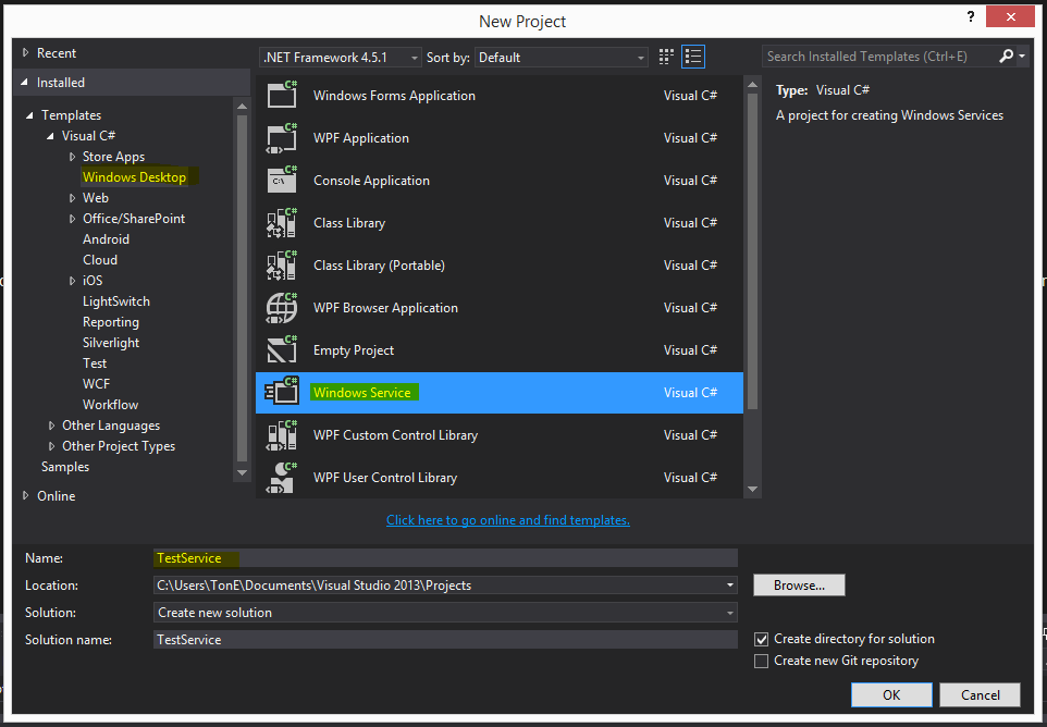 Create Windows Service in Visual Studio 2013